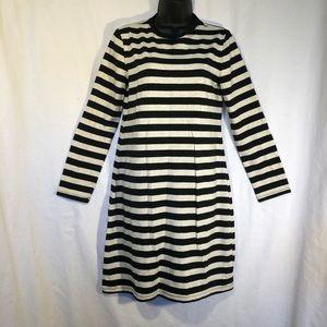 Old Navy Dress Crew Neck Stripes Long Sleeve NWT M